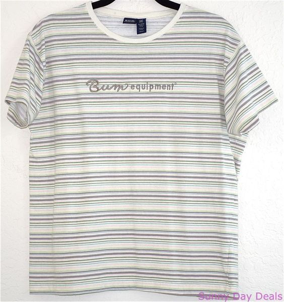BUM Equipment Shirt Vintage Striped Cotton B.U.M. Multi-color Short Sleeve M #BUMEquipment #BasicTee