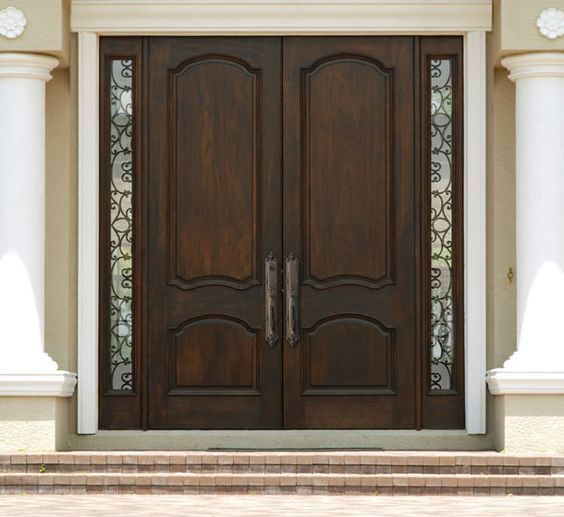 Wood And Iron Front Doors: Double Wood Door With Wrought Iron