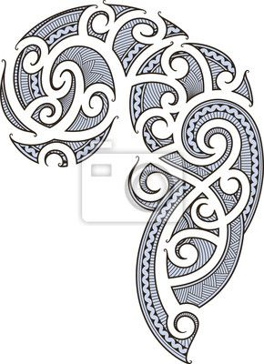 Wall mural maori tattoo design lines art pixersize for Back mural tattoo designs