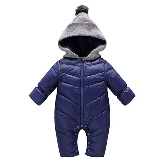 Uobzyaq Baby Boys Girls Hooded One Piece Puffer Winter Down Snowsuit Jumpsuit Overcoat Navy Size M 6 12 Mont Winter Baby Clothes Winter Baby Boy Baby Snowsuit