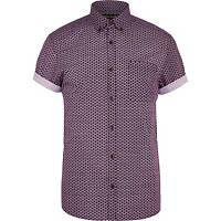 Purple geometric print short sleeve shirt