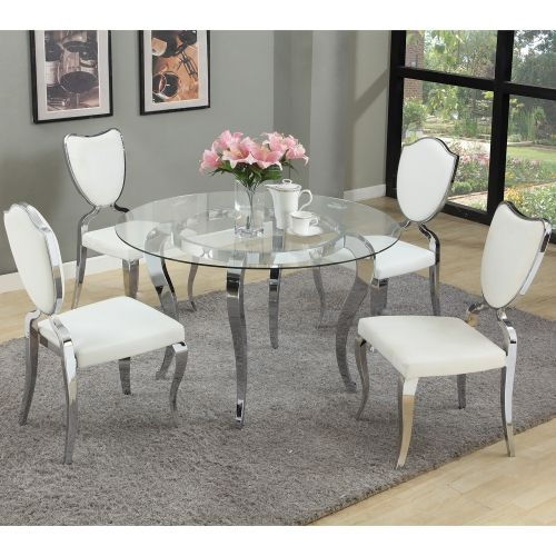 Chintaly Imports Letty Dt B Rd484810fect Letty 48 Round Dining Table Chrome Glass Top In 2020 Glass Dining Table Set Round Dining Room Table Round Dining Room