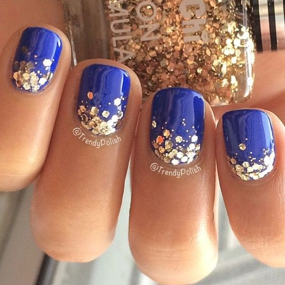 Trendy Dark Blue Nail Polish With Golden Dots