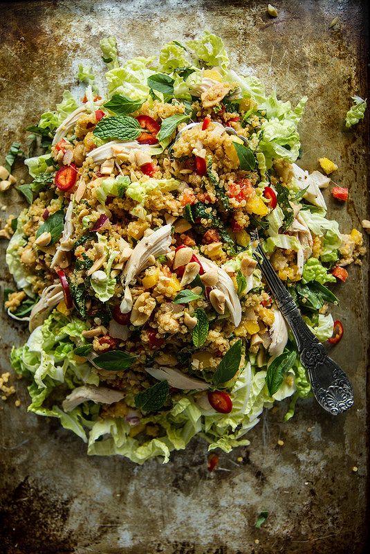Spicy Lemongrass and Peanut Thai Quinoa Salad | HeatherChristo.com