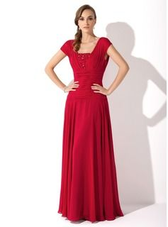 A-Line/Princess Square Neckline Floor-Length Chiffon Mother of the Bride Dress With Ruffle Beading (008006086) - JJsHouse