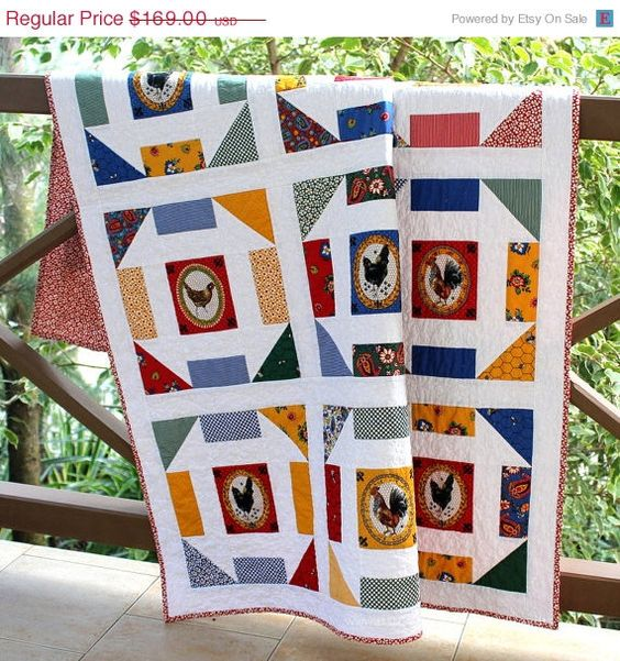 Black Friday SALE Country Chicken Quilted Wall Hanging Or