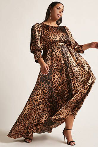 Plus Size ETA Cheetah Print Maxi Dress