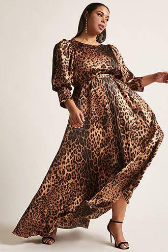 Plus Size ETA Cheetah Print Maxi Dress