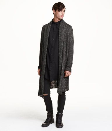 Long, fine-knit cardigan in a melange cotton blend with a hood and shawl collar. No buttons.