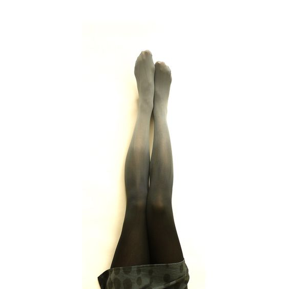 Wonder if she could do Red at the toe to white at the top....  Gradient Ombre Tights.  Hand dyed Gray and black. $40.00, via Etsy.