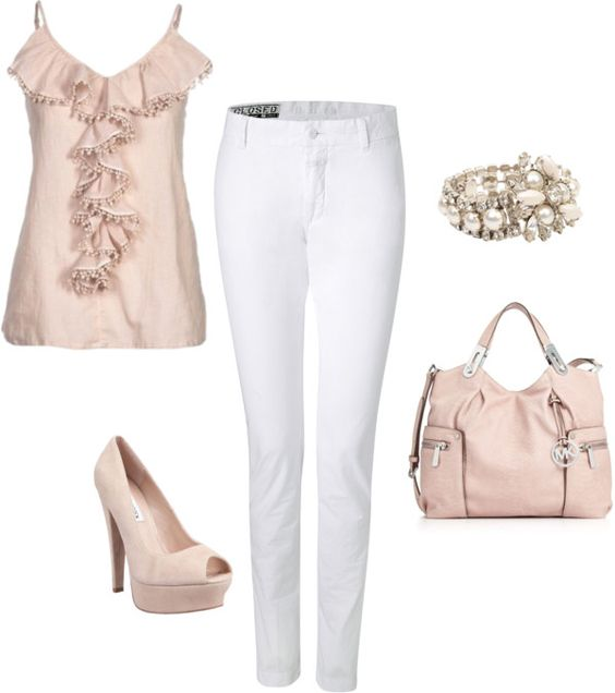 white pants, pink top, created by missyalexandra on Polyvore