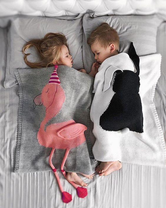 INS HOT Free Shipping!Cartoon Flamingo Knitting Wool Baby Warm Blanket
