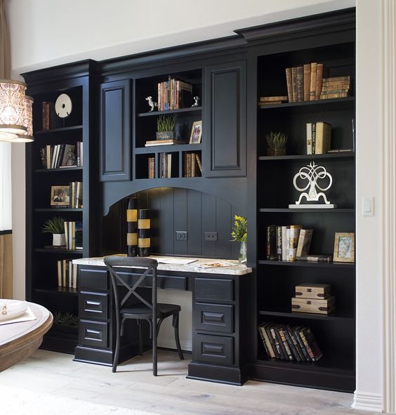 Kitchen planning desk with bookshelves in almost-black Rye by Burrows  Cabinets - central Texas