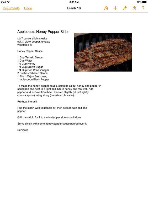 Applebee's Honey Pepper Sirloin