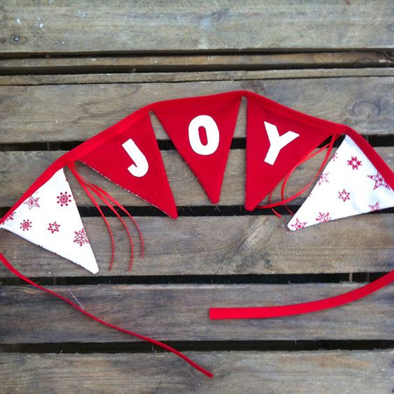 JOY bunting red and white traditional Christmas by EmmaBuntingUK