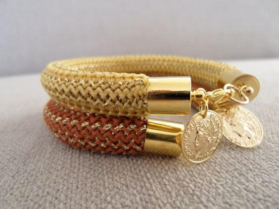 Gold Wrap Bracelet with rope and gold charm  by marizasShop