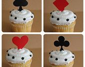 24 Playing Card Cupcake Topper Picks - perfect for casino night or Vegas themed events. $3.50, via Etsy.