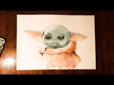How To Draw Baby Yoda Watercolor Painting From The Mandalorian Youtube Star Wars Painting Yoda Artwork Watercolor Paintings