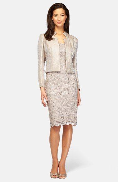 Alex Evenings Sequin Lace Sheath Dress &amp Taffeta Jacket (Regular ...