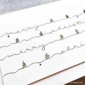 Papierzart Christmas Card Weihnachtsbuchstaben Aquarell