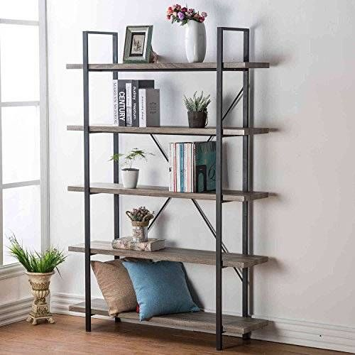 Hsh Furniture 5 Shelf Vintage Industrial Rustic Bookshelf Wood And Metal Bookcase Open Etagere Book Shelf Metal Bookcase Rustic Bookshelf Industrial Bookcases