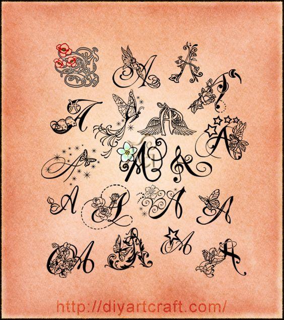Poster da collezione 19 lettere stilizzate: A maiuscola fantasiosa lettering-tattoo-A-diyartcraft – tattoo diyartcraft