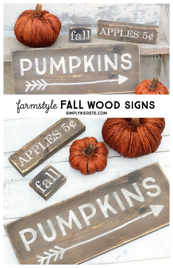 These darling farmstyle wood fall signs are super easy to make, and perfect for adding to your fall decor!