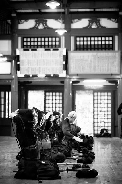 Black & white photo Japanese martial art Kendo Kendo class inside Nikko temple