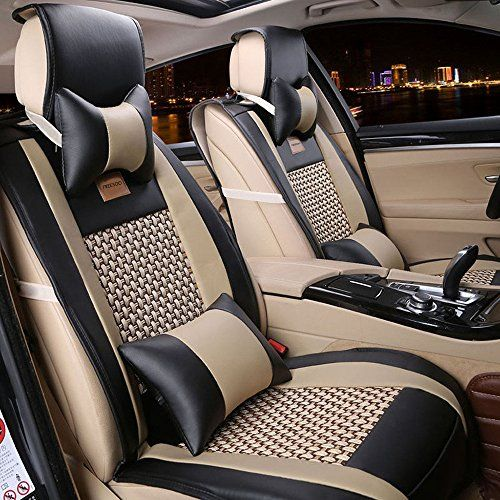 Freesoo Car Seat Covers Full Set Pu Leather Car Seat Covers For 5 Seats Vehicle Suitable For Year Round Use Black
