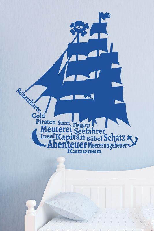 #Wandtattoo #Piratenschiff mit #Gold #Kanonen Insel #Kapitän Piraten Sturm Flaggen Säbel und Anker