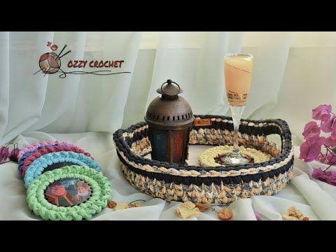 كروشيه صينية تقديم بخيط الكليم المصري علي قاعدة خشب Youtube Decorative Wicker Basket Crochet Wicker Baskets