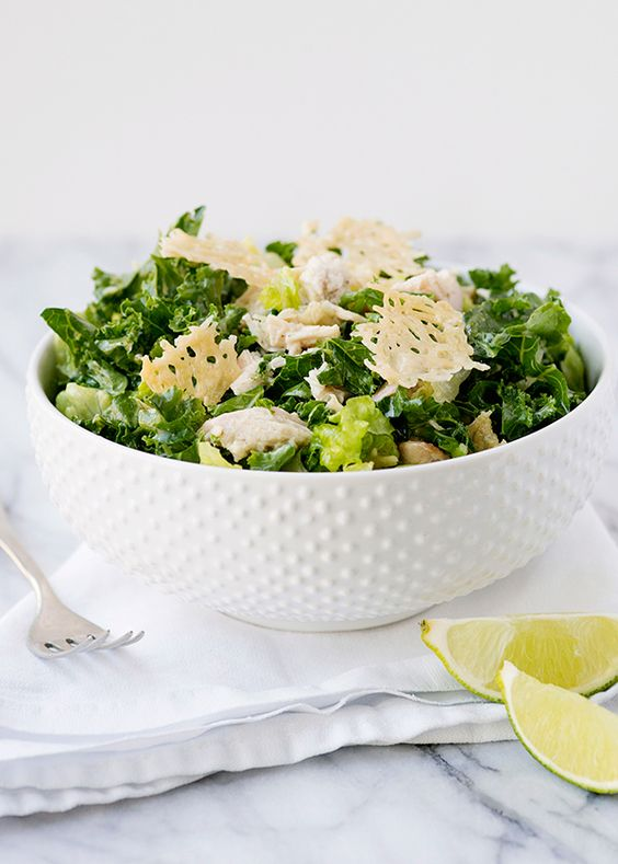kale caesar salad with parmesan crisp croutons recipe |  bakedbree.com