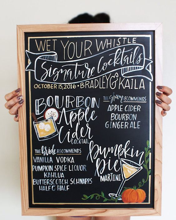 CHALKBOARD Personalized Wedding Bar Sign // , Hand Lettered Calligraphy, Bar Event Sign, Signature Drink Menu