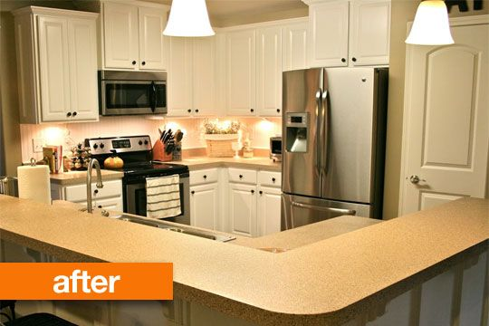 Before after transforming a dark kitchen with a diy for Painting kitchen countertops before and after