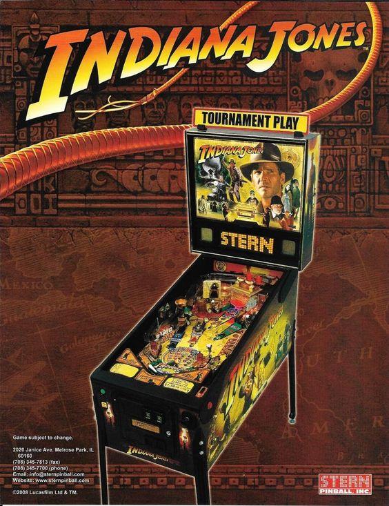 2008 Indiana Jones Pinball Flyer Stern Game Promo Movie Triology Raiders Doom #SternPinball