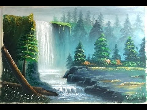 How To Draw River Landscape Scenery Of Mountain Waterfalls Draw Beautiful Mountain Landscape Nice Youtube Kartiny Maslom Kartiny Risovat
