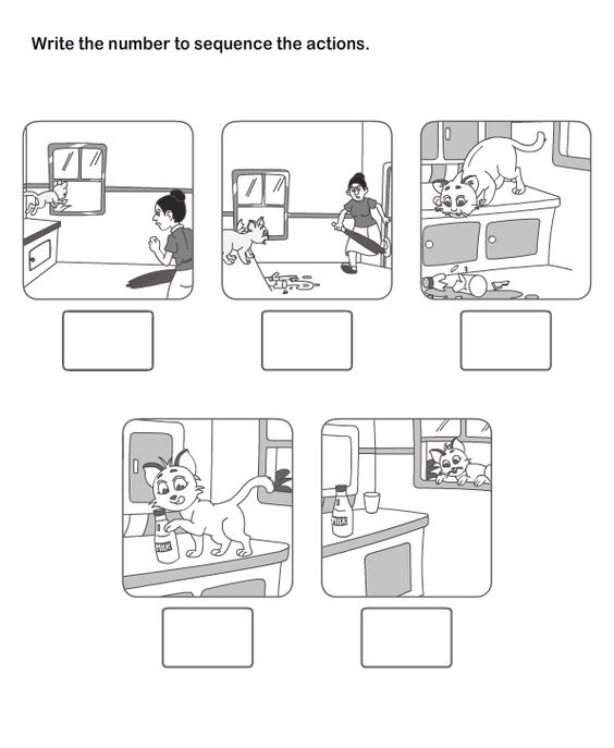 Spilled milk story sequence from cookie – Story Sequencing Worksheets for Kindergarten