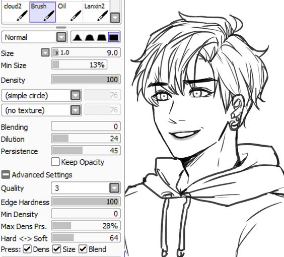 Line Art Brushes Photo : Kkumri s brush settings for lineart paint tool sai