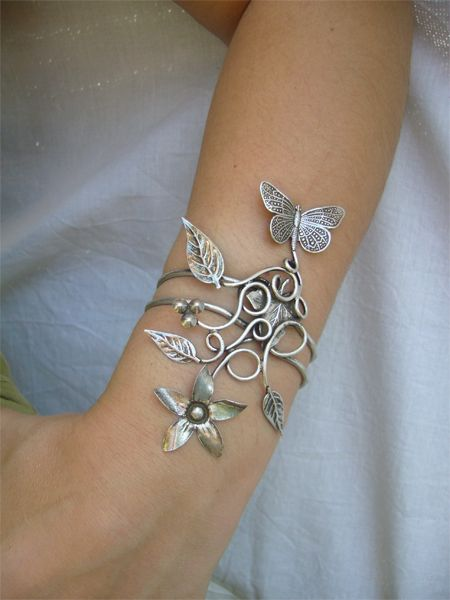 Love it!!: Flower Wrist Tattoos Bracelet, Arm Cuffs, Jewelry Bracelets, Silver Bracelets