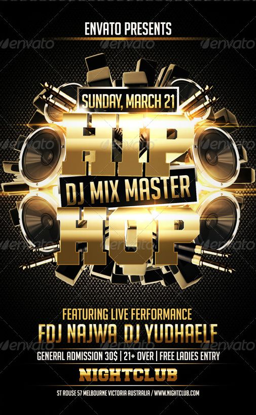 Hip Hop Flyer Template - Party Flyer Templates For Clubs Business ...