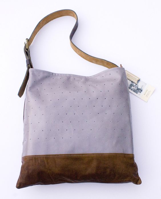 madebyhank - large hand punched leather tote in lavender + chocolate