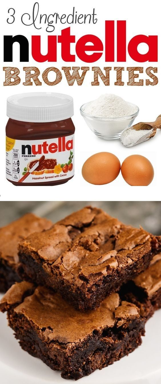 Easy 3 Ingredient Nutella Brownies Nutellabrownies Nutella Browniesrecipes Receta De Brownies Nutella Recetas Recetas Starbucks
