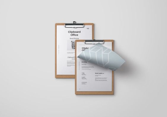 A clean mockup showing two clipboards: The PSD file is organized in layers (all items are separated) and measures a whopping 6000 x 5400 px at 300 dpi.