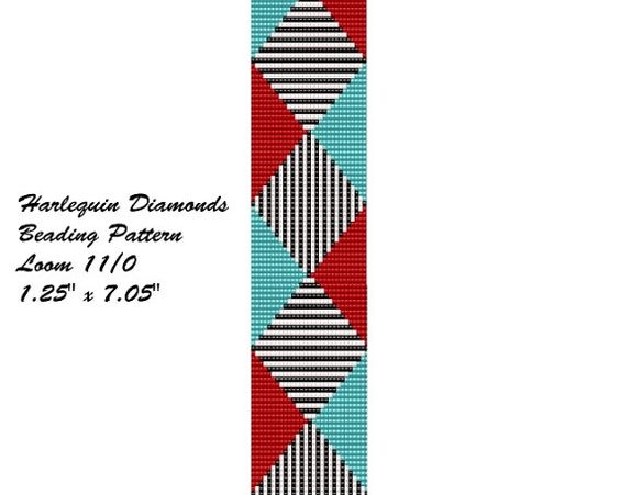 Turquoise and Red Harlequin Pattern Bracelet Loom от TinkersDrift