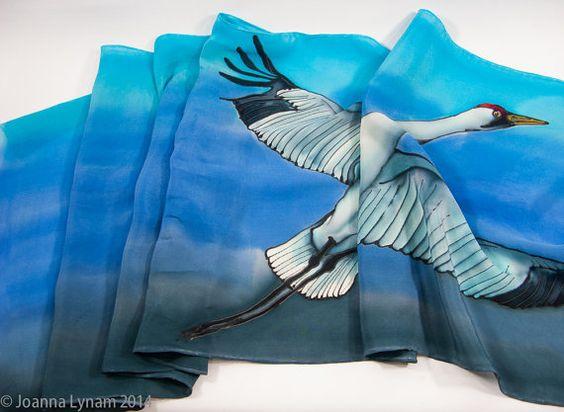 Flying Bird Silk Scarf. FRIDAY SALE. Whooping Crane от SirenSilks