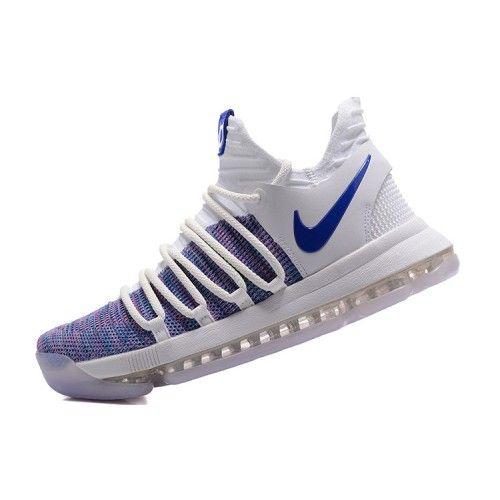 2017 Cheap Nike KD 10 White Blue Grey Basketball Shoes