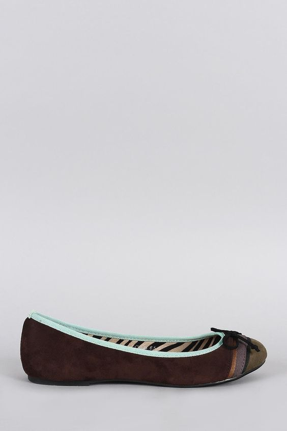 Colorblock Suede Bow Round Toe Ballet Flat