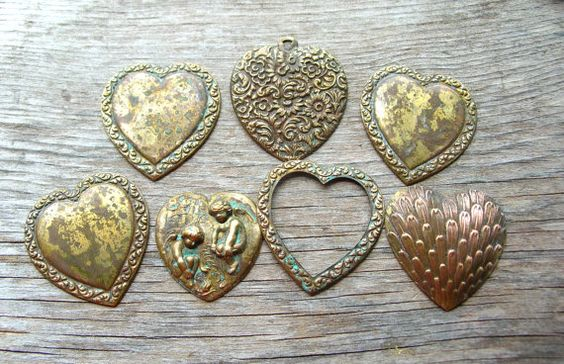 Large Heart Stampings  Jewelry Supply  Charm by 2VintageGypsies, $6.95