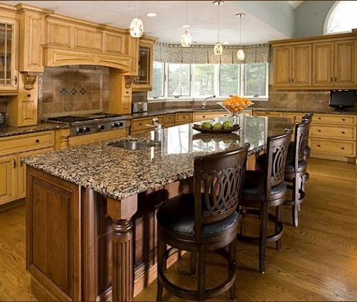 Traditional U shaped Light Blue kitchen, maple beach cabinets, Linda