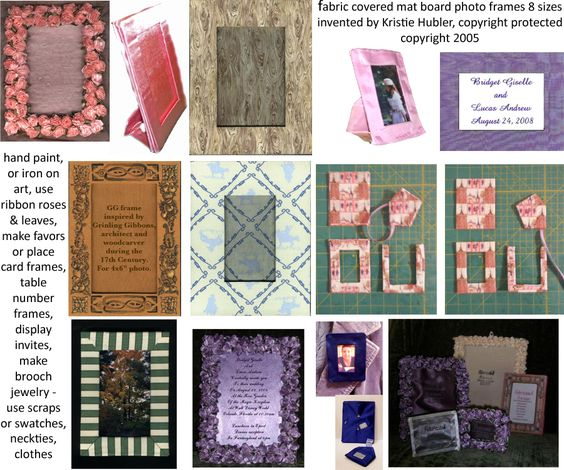 "http://www.craftsy.com/pattern/other/8-fabric-covered-mat-board-photo-frames/153189 8 #fabric #covered #mat #board #photo #frames $10 #download #craft #pattern #eight #sizes #make #handmade @beCraftsy @Craftsy - embellish with ribbon roses, hand paint, beads -only need #fabric #matboard #ribbon @thermoweb @heatnbond #Ultrahold #fabric #adhesive & #FabricFuse also #acidfree #sheetprotectorpage for #photo #sleeve- frame for 1 1/2"" x 2 1/2"" & 2x3"" @instagram @fuji #instant #photos"